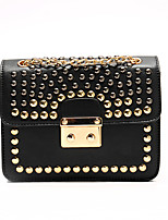 Women Shoulder Bag PU All Seasons Event/Party Rectangle Clasp Lock Black White Blue