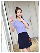 Women's Daily Casual Casual Summer Shirt Skirt Suits,Striped Embroidery V Neck Short Sleeve Micro-elastic