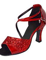Women's Latin Silk Sandals Performance Criss-Cross Stiletto Heel Ruby 3