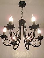 Европейский стиль упрощенный люстры спальня ресторан кованого железа свеча лампы гостиная лампа декоративные лампы
