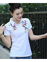 Women's Casual/Daily Simple Summer T-shirt,Solid Peter Pan Collar Short Sleeves Cotton