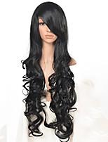 cosplay perruque Synthétique Sans bonnet Perruques Long Noir Cheveux