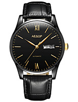 Men's Fashion Watch Mechanical Watch Automatic self-winding Water Resistant / Water Proof PU Band Black Brown