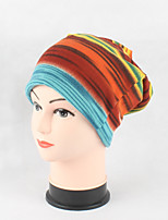 Women's Cotton Beanie Floppy Hat Headwear Cute Casual Modern Daily Knitwear Solid Fall Winter Rainbow Striped Cap Scarf Fuchsia/Orange/Blue