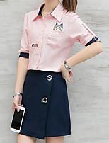 Для женщин На каждый день Весна Рубашка Юбки Костюмы Рубашечный воротник,Современный С принтом С короткими рукавами