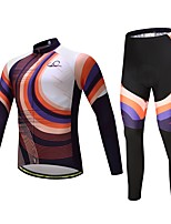 CYCEARTH Cycling Jersey with Pants Set Long Sleeve Bike Clothing Suits Quick Dry Polyester Autumn Spring Bicycle Sport Breathable Clothes Gel Pad