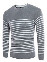 Herren Standard Pullover-Strasse Ausgehen Lässig/Alltäglich Athlässigkeit Einfach Street Schick Punk & GothicSolide Linien / Wellen