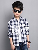 Boys' Patchwork Shirt,Cotton Polyester Spring Fall Long Sleeve