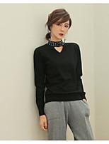 Standard Pullover Da donna-Casual Tinta unita Rotonda Manica lunga Cotone Autunno Medio spessore Media elasticità