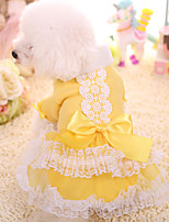 Dog Dress Dog Clothes Keep Warm Princess Yellow Blushing Pink