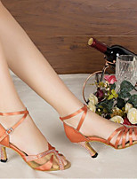 Для женщин Танцевальные кроссовки Натуральная кожа Полиуретан Сандалии Кроссовки Для открытой площадки На толстом каблукеЧерный