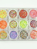 12PCS Hot Beauty Mixed Mini Round Thin Nail Art Nails Glitter 3d Nail Decorations Laser Shinning Tips 120g/PC