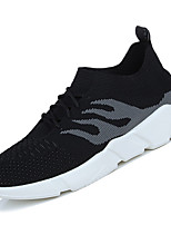 Men's Athletic Shoes Comfort Light Soles Spring Fall Breathable Mesh PU Athletic Casual Lace-up Flat Heel Gray Black/Red Under 1in