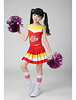 Cheerleader Costumes Outfits Kid's Performance Polyester Pleated Pattern/Print 2 Pieces Sleeveless High Skirts Tops