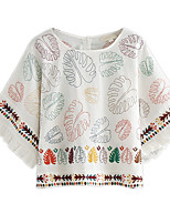 Women's Daily Casual Simple Blouse,Solid Print Round Neck 3/4 Length Sleeve Polyester