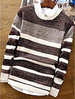 Standard Pullover Da uomo-Casual A strisce Rotonda Manica lunga Acrilico Autunno Medio spessore Media elasticità