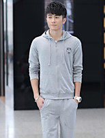 Men's Sports Hoodie Solid Hooded Micro-elastic Cotton Long Sleeve Spring Fall