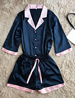 Robe de chambre Satin & Soie Costumes Vêtement de nuit Femme,Rétro Couleur Pleine