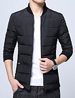 Men's Padded Coat,Simple Daily Casual Solid-Cotton Polyester Polyester Cotton Long Sleeve