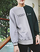 Men's Casual/Daily Simple Sweatshirt Print Letter Round Neck Micro-elastic Cotton Polyester Others Long Sleeve Spring