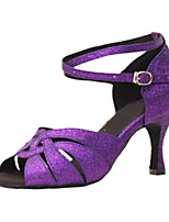Women's Latin Glitter Sandals Performance Buckle Stiletto Heel Purple 3