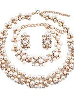 Femme Set de Bijoux Perle imitée euroaméricains Résine Strass Forme de Cercle PourMariage Soirée Occasion spéciale Halloween Anniversaire