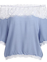Women's Street Street chic Summer Blouse,Plain Boat Neck Short Sleeve Chiffon Lace Medium