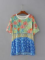 Mujer Simple Bonito Noche Casual/Diario Verano Camiseta,Escote Redondo Floral Estampado Manga Corta Algodón Fino Medio