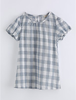 Girls' Print Lattice Tee,Cotton Summer Short Sleeve