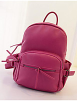 Women Backpack Special Material All Seasons Casual Round Zipper Fuchsia Black White