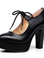 Damen High Heels formale Schuhe PU Frühling Herbst Kleid Kette Schnürsenkel Blockabsatz Weiß Schwarz 7,5 - 9,5 cm