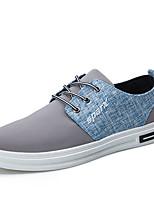 Для мужчин Кеды Удобная обувь Полотно Весна Лето Осень Зима Повседневные Комбинация материалов На плоской подошве Черный Серый СинийНа