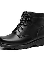Men's Boots Comfort Leather Spring Fall Outdoor Comfort Flat Heel Black Walking Shoes