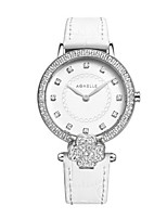 Women's Fashion Watch Wrist watch Japanese Quartz Water Resistant / Water Proof Leather Band Sparkle Casual White
