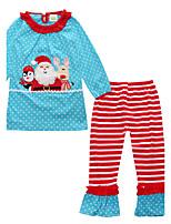Girls' Stripe Polka Dots Print Sets,Cotton All Seasons Long Sleeve Clothing Set
