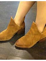 Women's Boots Comfort Cowhide Winter Casual Comfort Chunky Heel Brown 1in-1 3/4in