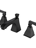 Black Art Deco/Retro Widespread Matte with  Ceramic Valve Two Handles Three Holes for  Painting  Bathroom Sink Faucet