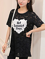 Women's Going out Casual/Daily Sexy Summer Fall T-shirt,Print Round Neck Short Sleeve Polyester Medium