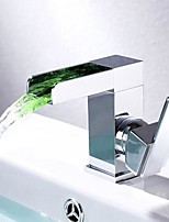Contemporary LED Centerset Waterfall with  Ceramic Valve Single Handle One Hole Chrome Finish Bathroom Basin Sink Faucet