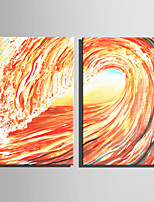 Mini Size E-HOME Oil painting Modern Huge Waves Pure Hand Draw Frameless Decorative Painting  Set of 2