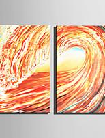 Ручная роспись Абстракция Вертикальная,Современный Modern 2 панели Холст Hang-роспись маслом For Украшение дома
