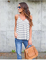 Women's Going out Club Sexy Tank Top,Striped V Neck Sleeveless Cotton