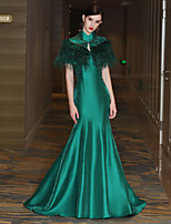 Mermaid / Trumpet High Neck Court Train Satin Mikado Prom Formal Evening Dress with Beading Crystal Detailing Feathers / Fur Bandage by