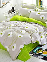 Floral 4 Piece Cotton Cotton 1pc Duvet Cover 2pcs Shams
