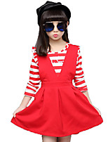 Girls' Stripe Solid Color Print Sets,Cotton Spring/Fall Long Sleeve Clothing Set