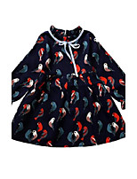 Girl's Print Dress,Cotton Spring Fall Long Sleeve