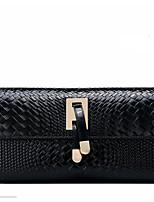 Women Checkbook Wallet Cowhide All Seasons Casual Rectangle Magnetic Black Deep Blue Ruby