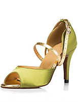 Women's Latin Silk Sandals Performance Buckle Stiletto Heel Green/Yellow 3