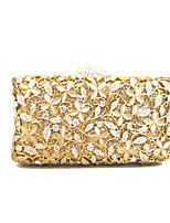 Lady Luxury Gold Gem Mosaic Clutches Little Flowers Diamonds Event Evening Clutch Bag