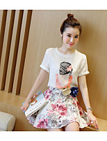 Women's Daily Casual Casual Spring Summer T-shirt Skirt Suits,Floral Print Round Neck Short Sleeve Micro-elastic